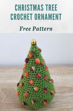 This adorable crochet Christmas tree is the perfect addition to your holiday decoration! This is a free written pattern with photo tutorial. Cute Christmas Tree, Christmas Crochet Patterns, Crochet Christmas Ornaments, Holiday Crochet, Crochet Gifts, Free Crochet, Fingering Yarn, How To Make Ornaments, Amigurumi Patterns