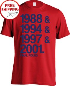 c0ee6cc0 This shirt commemorates the Wildcats four trips to the Final Four. Blue  print on a red shirt. Premium quality screen printing on shirts made by Next