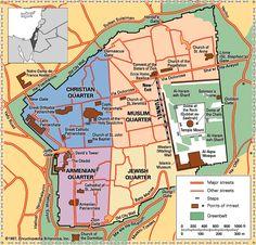 Map of Jerusalem with quarters