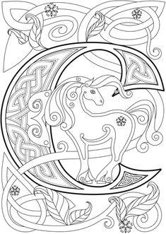 Welcome to Dover Publications - CH Celtic Alphabet Alphabet Design, Alphabet Art, Letter Art, Graffiti Alphabet, Calligraphy Alphabet, Islamic Calligraphy, Coloring Letters, Alphabet Coloring Pages, Coloring Book Pages