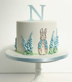 Peter Rabbit baby shower cake for little boy (Beatrix Potter) by Sweet Bea's Bakery