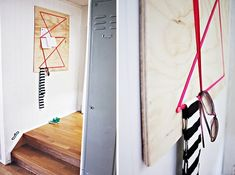 Roundup: 21 Creative DIY Wall Hook and Coat Rack Projects! Wall Racks, Wall Storage, Diy Storage, Furniture Projects, Diy Furniture, Peg Wall, Office Workspace, Diy Projects To Try, Home Accessories