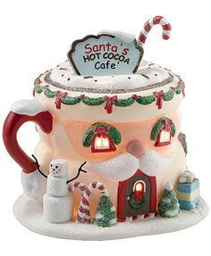 Department 56 Collectible Figurine, North Pole Village Santa's Hot Cocoa Cafe