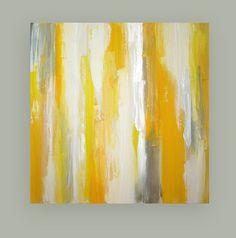 Yellow and Gray Art Original Acrylic Painting by OraBirenbaumArt, $365.00