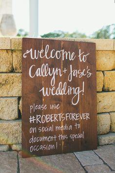 Wedding sign - like the typography + wood!