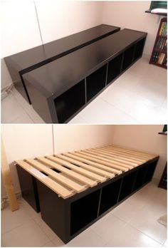 20 Cube Organizer DIY Ideas To De-clutter Your Whole House-Cube Unit Shelf Bed Frame 20 Cube Organizer DIY Ideas To De-clutter Your Whole House: IKEA hacks to redesign cube unit (cube shelf) into new furniture for home decor & organization Diy Storage Bed, Cube Storage, Bedroom Storage, Diy Storage Unit, Creative Storage, Under Bed Storage, Kids Storage, Ikea Cubes, Cube Unit