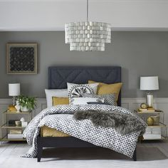 Patterned Bed - Steel Gray | West Elm