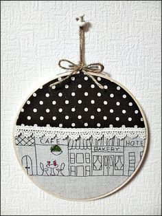 Hand embroidery in hoop Size of loop 16cm This beautiful cafe is hand embroidered on japanese cotton linen fabric. It is ready to be hang