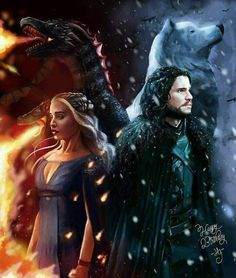 Jon Snow and Daenerys Targaryen Game of Thrones A Song of Ice and Fire by Hadas Gold Jon Snow And Daenerys, Dany And Jon, Winter Is Here, Winter Is Coming, Jon Schnee, Arte Game Of Thrones, Game Of Thrones Ghost, Game Of Trones, My Champion