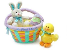 BABY EASTER BASKET MY FIRST GUND STUFFED ANIMALS BUNNY CHIC PLUSH TOY GIFT PAIR