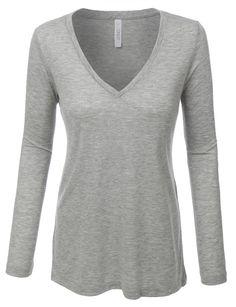 LE3NO PREMIUM Womens Lightweight Basic V Neck Long Sleeve Shirt