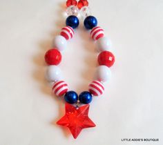 Chunky Bubblegum Girls Beaded Necklace 4th of July - Red White and Blue- Star.