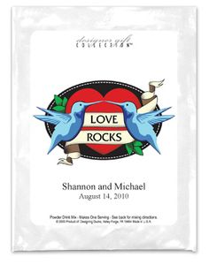 """Love is the most rockin' feeling in the world!  Share your love of music, tattoos or rock 'n roll with our personalized hot cocoa mix wedding favors - inspired by the legendary Sailor Jerry tattoos.  Each love bird themed hot cocoa mix wedding favor features two love birds, your names and wedding date or wedding details.Each single serving pouch of mocha cappuccino comes in individual high gloss pouches.Minimum order: 24 packs Shelf Life: 12 Months from date of purchase Pack Size: 3.75""""w X…"""