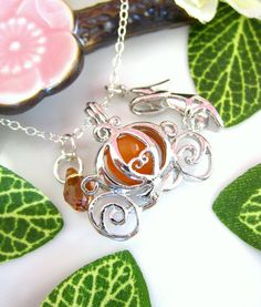 Cinderella pumpkin carriage and shoe silver necklace by KBlossoms, $38.00