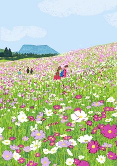 I like this illustration because it is very bright and eye-catchy.The colors that are used in this illustration are bold and blazing which make it attractive. The flowers are deeply detailed.The scenery shows that it is a bright sunny day. Art And Illustration, Illustrations And Posters, Kunst Inspo, Art Inspo, Grafik Design, Landscape Paintings, Art Drawings, Artsy, Artwork