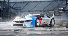 Rendering shows a BMW i8 Procar racing car