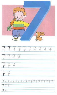 schrijfoefening 7 Kindergarten Writing, Writing Activities, Teaching Math, Phonics Song, Alphabet Phonics, Kids Learning Alphabet, Baby Learning, Numbers Preschool, Preschool Activities
