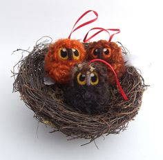 Brown Felt Owl Tree Decoration Needlefelted Owl Baby Tree Decoration 1 Supplied. via Etsy.