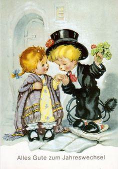 Soloillustratori: Search Results for Josefine Batke-Koller Vintage Greeting Cards, Vintage Christmas Cards, Xmas Cards, Vintage Postcards, Vintage Images, Sea Turtle Nursery, Art Wall Kids, Nursery Art, Cute Pictures