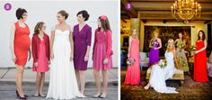Reds and pink mismatched bridesmaid dresses