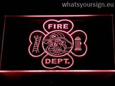 Fire Department Fighting Irish Face - LED neon light sign display made of the best-quality clear acrylic and bright colorful LED lighting. The neon sign displays exactly the same from every angle thanks to the carving with the modern 3D laser engraving technology. This LED neon sign is a great gift idea! The neon is provided with a metal chain for displaying. Available in 3 sizes in following colours: Green, Yellow, Red, Blue, White, Purple and Orange!