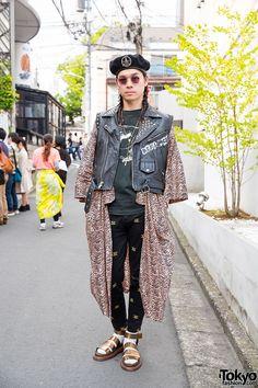 Punk Cake Harajuku's Kinji in Vintage Biker Vest, Beret, Animal Print & Dr. Martens