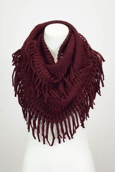 The Pink Lily Boutique - Burgundy Fringe Infinity Scarf, $18.50 (http://www.thepinklilyboutique.com/burgundy-fringe-infinity-scarf/)