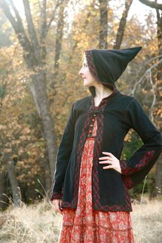 Hooded Jacket// Vintage 1960s Bell Sleeve// Hippie Witch Jacket// by AstralBoutique, $78.00
