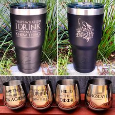 IntegrityArt.Etsy.com Awesome 30 oz vacuum insulated tumblers and stainless steel wine glasses with the best Game of Thrones quotes!