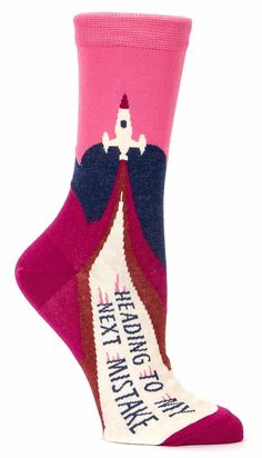 Blue Q Women's Novelty Crew Socks (fit women's shoe size Funny Socks, Cute Socks, Silly Socks, Blue Q Socks, Foot Socks, Trouser Socks, Crazy Socks, Ladies Dress Design, Mistakes