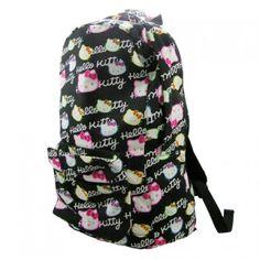 Hello Kitty Backpack Rucksack School Bag Sign Black