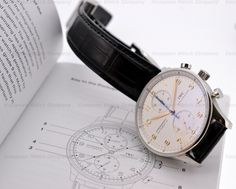 """The """"OLD"""" IWC Portuguese Chronograph in Stainless steel with a Silver Dial / Gold Numerals Reference IW371445"""