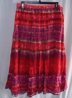 New Directions Woman 2X Maxi Skirt Elastic Waist Red Purple Orange Brown #NewDirectionsWoman #Maxi