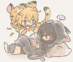 Yang the tiger and Blake the cat - adorable Bumbleby fan art Rwby Anime, Rwby Fanart, Anime Girlxgirl, Yuri Anime, Kawaii Anime, Rwby Yang, Rwby Blake, Rwby Bumblebee, Red Like Roses