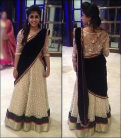 OMG! love the blouse! Lace with pearl borders and crochet ghagra gold sequin borders!
