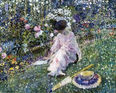 I rather like these highly coloured, romantic impressionist paintings by American artist Frederick Carl Frieseke...they remind me of the Marcel Proust that I'm reading at the moment...