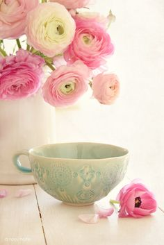from A Rosy Note   I love the flowers, the colours and that beautiful cup from Anthropologie....