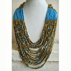 Blue Necklace/Gold Necklace/Beadwork by FootSoles on Etsy, $29.50