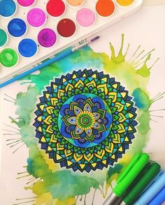 Green, blue and yellow mandala❤️😊 I keep on trying new art colour combinations and I love it! Btw for everyone asking what… Zantangle Art, Zen Art, Mandala Painting, Mandala Drawing, Mandala Doodle, Doodle Art, Zentangle Patterns, Zentangles, Mandala Coloring