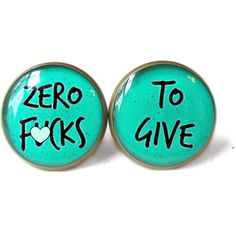 MATURE zero f*cks to give Teal Stud Earrings Pastel Goth Soft Grunge... ($10) ❤ liked on Polyvore