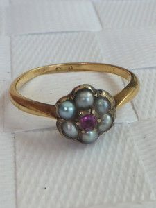 Fine Victorian Ruby and seed Pearl 18ct gold cluster ring | eBay