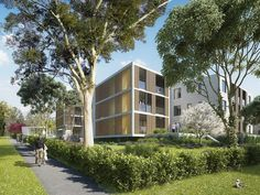 Architectural rendering for the Aged Care Village St Hedwig en Sydney, Australia designed by Rudolfsson Alliker associates architects. Hedwig, 3d Architectural Visualization, Aged Care, Saints, Mansions, House Styles, Studio, Home, Sydney Australia