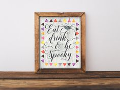 Eat, Drink, and Be Spooky Halloween Printable Home Decor, 8x10 Halloween Party Sign, Fall Decor, Halloween Print, Spider, Calligraphy