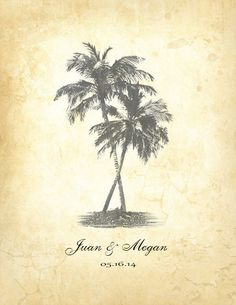 Vintage wedding guestbook poster- Rustic Palm tree poster- Weddings- Unique Wedding poster-Palm tree poster- Wedding guest book alternative-...