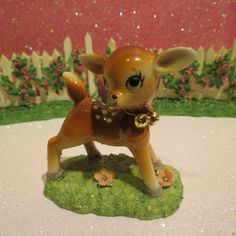 Vtg Christmas Baby Fawn Deer Pink Ears Gold Bells White Spots Pink Flowers | eBay