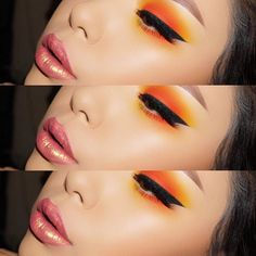 """Inspired by a look @ssssamanthaa Did on her YouTube channel.  @anastasiabeverlyhills @norvina dipbrow in """"caramel"""" and brow gel. @sugarpill """"Buttercupcake"""" and @maccosmetics """"Orange"""" shadow. @inglot_usa 77 gel liners and for the perfect wing I used """"BK51"""" bent liner brush from @crownbrush, best liner brush hands down!  @houseoflashes lashes in """"goddess""""  @sugarpill matte liquid lipstick in """"Trinket"""""""
