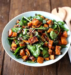 Roasted Kumara and Spinach Salad. Maple roasted kumara with wilted spinach fresh ginger pumpkin seeds and dukkah Spinach Feta Salad, Baby Spinach Salads, Goat Cheese Salad, Spinach Recipes, Roasted Vegetable Salad, Roasted Vegetables, Kumara Salad, Kumara Recipes, Kitchens