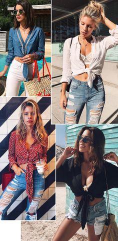 Truque de styling mais quente da estação: usar a camisa com nó, deixando qualquer look com a cara do verão