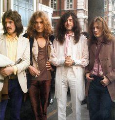 John Bonham, Robert Plant, Jimmy Page, and John Paul Jones stand outside the Savoy Hotel in London, UK. December 11th, 1969.