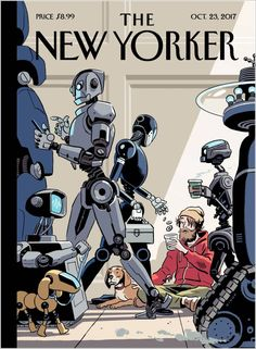 New Yorker - October 2017 - R. Kikuo Johnson - Cover Shows a Grim Robot Future The New Yorker, New Yorker Covers, Capas New Yorker, Magazin Covers, Arte Cyberpunk, Ligne Claire, Design Graphique, Tech Support, Grafik Design